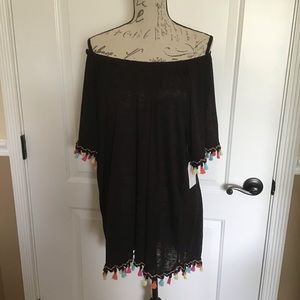 2XL Time&Tru Black Peasant Blouse accented Sleeves